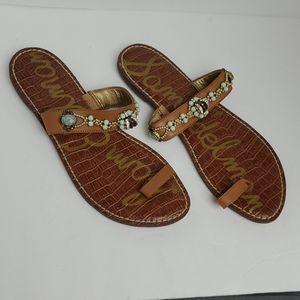 "NWT Sam Edelman ""Gillie"" Jeweled Leather Sandals"